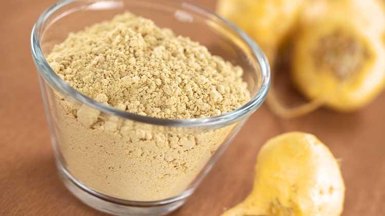 Maca powder (flour) with maca roots or Peruvian ginseng