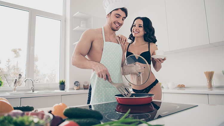 Nice lovely sweet attractive cheerful married spouses guy making food