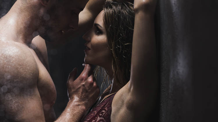 Woman and man in the shower