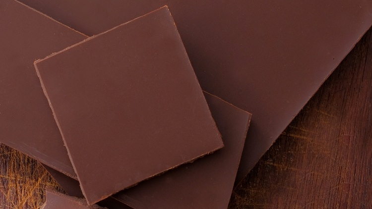 Chocolate slices close up from above